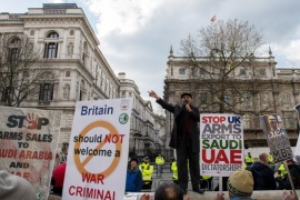 LONDON, ENGLAND – MARCH 07:  Protesters hold placards and chant in opposition to Saudi Crown Prince Mohammed bin Salman opposite Downing Street as the Crown Prince visits British Prime Minister Theresa May on March 7, 2018 in London, England. Saudi Crown Prince Mohammed bin Salman has made wide-ranging changes at home supporting a more liberal Islam. Whilst visiting the UK he will meet with several members of the Royal family and the Prime Minister.  (Photo by Chris J R