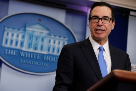U.S. Treasury Secretary Steven Mnuchin announces on Friday what he said was the largest North Korea-related sanctions in a bid to disrupt North Korean shipping and trading companies and vessels and to further isolate Pyongyang, in the press room at the White House in Washington, U.S. February 23, 2018.  REUTERS/Jonathan Ernst