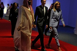 White House senior advisor Jared Kushner (C) and his wife Ivanka Trump (R) arrive to tour the new Global Center for Combatting Extremist Ideology with U.S. President Donald Trump and Saudi Arabia's King Salman bin Abdulaziz Al Saud (not pictured) in Riyadh, Saudi Arabia May 21, 2017. REUTERS/Jonathan Ernst