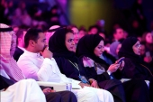 People attend the performance of actor John Travolta at APEX Convention Center in Riyadh, Saudi Arabia December 15, 2017. REUTERS/Faisal al Nasser – RC182D50CD10