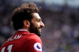 WEST BROMWICH, ENGLAND – APRIL 21:  Mohamed Salah of Liverpool reacts during the Premier League match between West Bromwich Albion and Liverpool at The Hawthorns on April 21, 2018 in West Bromwich, England.  (Photo by Laurence Griffiths/Getty Images)