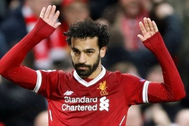 Soccer Football – Champions League Semi Final First Leg – Liverpool vs AS Roma – Anfield, Liverpool, Britain – April 24, 2018   Liverpool's Mohamed Salah celebrates scoring their first goal      Action Images via Reuters/Carl Recine
