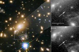NASA's Hubble Space Telescope image of a blue supergiant star the Icarus, the farthest individual star ever seen, is shown in this image released April 2, 2018. The panels at the right show the view in 2011, without Icarus visible, compared with the star's brightening in 2016.   Courtesy NASA, ESA, and P. Kelly/University of Minnesota/HANDOUT via REUTERS   ATTENTION EDITORS – THIS IMAGE HAS BEEN SUPPLIED BY A THIRD PARTY.