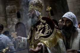 JERUSALEM, ISRAEL – APRIL 01: Pope Tawadros II leader of Egypt's Coptic Orthodox Church holds mass to celebrate Easter Sunday at the Church of the Holy Sepulchre in the Old City on April 1, 2018 in Jerusalem, Israel. Thousands of tourists and pilgrims have descended on the holy city of Jerusalem to attend activities to mark Christian Holy week from March 25 to April 2.  (Photo by Chris McGrath/Getty Images)