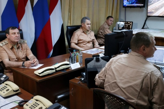 Russian Defense Minister Sergei Shoigu visits Hmeymim air base in Syria, June 18, 2016. Picture taken June 18, 2016. REUTERS/Vadim Savitsky/Russian Defense Ministry via Reuters ATTENTION EDITORS – THIS IMAGE WAS PROVIDED BY A THIRD PARTY. EDITORIAL USE ONLY.