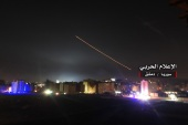 epa06724728 A handout photo made available by government-affiliated Syrian Military Media is said to show Syrian air defense missiles intercepting missile strikes over Damascus, Syria, 09 May 2018 (issued 10 May 2018). According to Syrian official media reports, the air defense was responding to a new wave of Israeli missile strikes. EPA-EFE/SYRIAN MILITARY MEDIA HANDOUT HANDOUT EDITORIAL USE ONLY/NO SALES