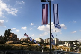 JERUSALEM, ISRAEL – MAY 09:  American and Israeli flags fly at the entrance to the new American embassy in Jerusalem which is scheduled to open next week on May 9, 2018 in Jerusalem, Israel. In a controversial move, the United States is to move its embassy in Israel from Tel Aviv to Jerusalem on May 14. Jerusalem's Israeli-annexed eastern sector has been long sought for a future Palestinian capital and the move is viewed by Palestinians as a U.S. breach of long-standin