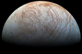 A view of Jupiter's moon Europa created from images taken by NASA's Galileo spacecraft in the late 1990's, according to NASA, obtained by Reuters May 14, 2018.  NASA/JPL-Caltech/SETI Institute/ Handout via REUTERS   ATTENTION EDITORS – THIS IMAGE WAS PROVIDED BY A THIRD PARTY     TPX IMAGES OF THE DAY
