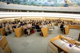 Empty seats of the United States delegation are pictured one day after the U.S. announced their withdraw during a session of the Human Rights Council at the United Nations in Geneva, Switzerland June 20, 2018. Picture taken with a fisheye lens. REUTERS/Denis Balibouse