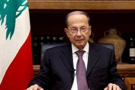 Lebanon's President Michel Aoun is pictured at the Presidential Palace in Baabda, Lebanon April 12, 2017. Dalati Nohra/Handout via Reuters ATTENTION EDITORS – THIS IMAGE HAS BEEN SUPPLIED BY A THIRD PARTY. FOR EDITORIAL USE ONLY
