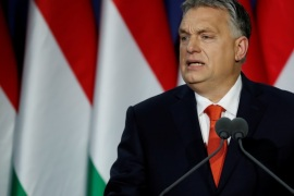 Hungarian Prime Minister Viktor Orban delivers his annual state of the nation speech in Budapest, Hungary, February 18, 2018. Slogan reads