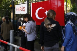 BERLIN, GERMANY – JUNE 07: Turkish citizens line up to cast their ballots in the 2018 Turkish general election at the Turkish general consulate on June 7, 2018 in Berlin, Germany. Voting has begun today for Turkish citizens who live abroad. Turkey is to hold elections both for president and parliament on June 24. (Photo by Michele Tantussi/Getty Images)