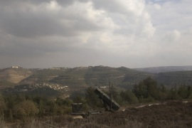 A Patriot anti-missile battery is seen west of Jerusalem, during