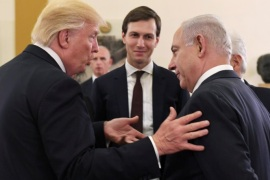 Israel's Prime Minister Benjamin Netanyahu and U.S. President Donald Trump chat as White House senior advisor Jared Kushner is seen in between them, during their meeting at the King David hotel in Jerusalem May 22, 2017. Kobi Gideon/Courtesy of Government Press Office/Handout via Reuters THIS PICTURE WAS PROVIDED BY A THIRD PARTY. FOR EDITORIAL USE ONLY. NOT FOR SALE FOR MARKETING OR ADVERTISING CAMPAIGNS. ISRAEL OUT. NO SALES IN ISRAEL