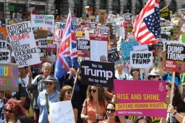 epa06885800 Tens of thousands of people take part in a Stop Trump Coalition – Stop the War Protest against the US President Donal J. Trump visit in London, Britain, 13 July 2018. Trump is on a working visit to Britain. EPA-EFE/ANDY RAIN
