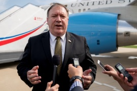 U.S. Secretary of State Mike Pompeo speaks to members of the media following two days of meetings with Kim Yong Chol, a North Korean senior ruling party official and former intelligence chief, before boarding his plane at Sunan International Airport in Pyongyang, North Korea, July 7, 2018, to travel to Japan. Andrew Harnik/Pool via REUTERS