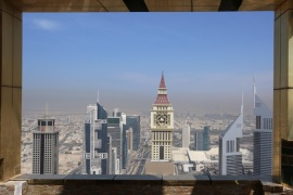 A view shows Dubai Skyline from the 71st floor of the Gevora Hotel, the world's tallest hotel, in Dubai, UAE February 12, 2018. REUTERS/Satish Kumar