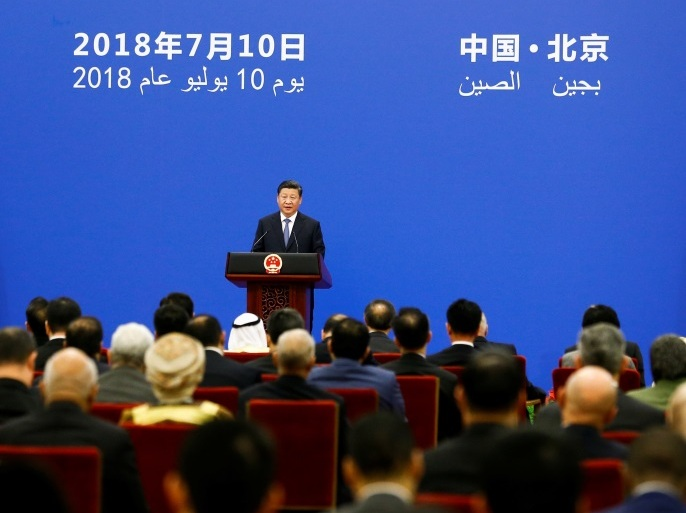 Chinese President Xi Jinping speaks to representatives of Arab League member states at a China Arab forum at the Great Hall of the People in Beijing, China, July 10, 2018. REUTERS/Thomas Peter