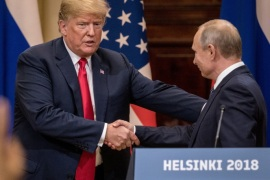 HELSINKI, FINLAND – JULY 16:  U.S. President Donald Trump (L) and Russian President Vladimir Putin shake hands during a joint press conference after their summit on July 16, 2018 in Helsinki, Finland. The two leaders met one-on-one and discussed a range of issues including the 2016 U.S Election collusion.  (Photo by Chris McGrath/Getty Images)