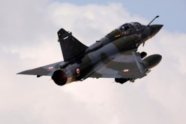A French Mirage 2000 fighter jet takes off during a joint international aerial training exercise hosted by Israel and dubbed