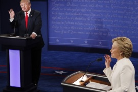 Republican candidate Donald Trump (L) and Democratic candidate Hillary Clinton (R) during the final Presidential Debate