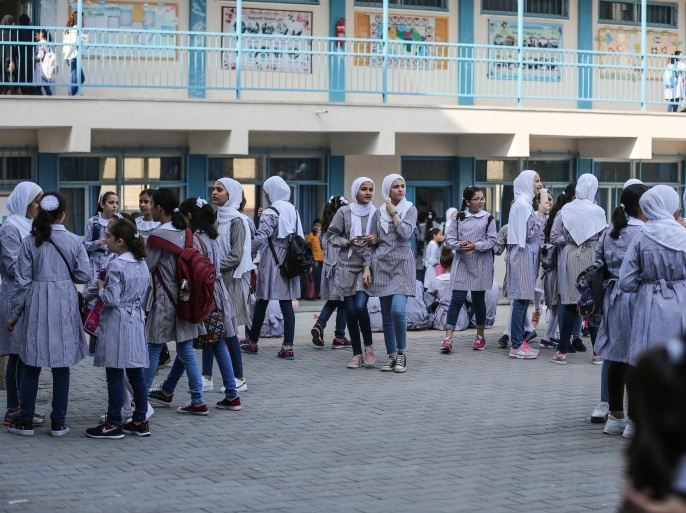 New school year starts in Gaza- – GAZA CITY, GAZA – AUGUST 29: Palestinian students start their new education year at schools of the United Nations Relief and Works Agency for Palestine Refugees (UNRWA) on the first day of the new school year in Gaza City, Gaza on August 29, 2018.