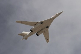 A Tupolev Tu-160 Blackjack strategic bomber flies over the Red Square during the Victory Day parade in Moscow, Russia, May 9, 2015. Russia marks the 70th anniversary of the end of World War Two in Europe on Saturday with a military parade, showcasing new military hardware at a time when relations with the West have hit lows not seen since the Cold War. REUTERS/Host Photo Agency/RIA Novosti      ATTENTION EDITORS – THIS IMAGE HAS BEEN SUPPLIED BY A THIRD PARTY. IT IS DISTRIBUTED, EXACTLY AS RECEIVED BY REUTERS, AS A SERVICE TO CLIENTS