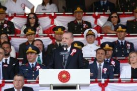 96th Anniversary of Turkey's Victory Day- – ANKARA, TURKEY – AUGUST 30 :  President of Turkey Recep Tayyip Erdogan speaks during the graduation ceremony of officer candidates of National Defense University Turkish Military Academy on the 96th Anniversary of Turkey's Victory Day in Ankara, Turkey on August 30, 2018.