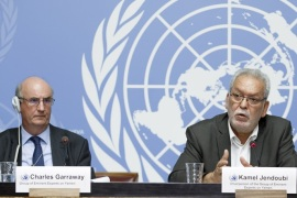 epa06978036 Kamel Jendoubi, (R), Chairperson of the Group of Eminent Experts on Yemen, sitting next to Charles Garraway, (L), member of the Group of Eminent Experts on Yemen, inform the media on the publication of its report on the establishment of facts and circumstances surrounding alleged violations and abuses committed by all parties to the conflict in Yemen, during a press conference, at the European headquarters of the United Nations in Geneva,, Switzerland, 28 August 2018. EPA-EFE/SALVATORE DI NOLFI