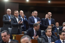Members of Hezbollah parliamentary bloc gesture after Nabih Berri is re-elected as Lebanon's parliamentary speaker, as Lebanon's newly elected parliament convenes for the first time to elect a speaker and deputy speaker in Beirut, Lebanon May 23, 2018. Lebanese Parliament/Handout via REUTERS ATTENTION EDITORS – THIS IMAGE WAS PROVIDED BY A THIRD PARTY