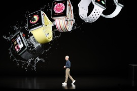 Tim Cook, CEO of Apple, introduces the new Apple watch at an Apple Inc product launch event at the Steve Jobs Theater in Cupertino, California, U.S., September 12, 2018. REUTERS/Stephen Lam