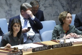 United Nations Security Council Meeting- – NEW YORK, USA – SEPTEMBER 06: US Ambassador to the United Nations Nikki Haley (L), speaks during a UN Security Council meeting on the situation in Middle East and Idlib, Syria at the United Nations Headquarters in New York, United States on September 06, 2018.