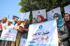 Gazze'de UNRWA protestosu- – GAZA CITY, GAZA – SEPTEMBER 10 :  Palestinians stage a protest against U.S. decision to cut funding to the United Nations Relief and Works Agency for Palestine Refugees in Gaza City, Gaza on September 4, 2018.