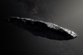 This artist's impression shows the first interstellar asteroid, `Oumuamua as it passes through the solar system after its discovery in October 2017.  European Southern Obervatory/M. Kornmesser/Handout via REUTERS  ATTENTION EDITORS – THIS IMAGE WAS PROVIDED BY A THIRD PARTY
