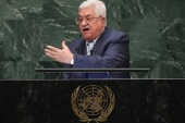 NEW YORK, NY – SEPTEMBER 27: Palestinian President Mahmoud Abbas addresses the United Nations General Assembly on September 27, 2018 in New York City. World leaders gathered for the 73rd annual meeting at the UN headquarters in Manhattan.   John Moore/Getty Images/AFP== FOR NEWSPAPERS, INTERNET, TELCOS & TELEVISION USE ONLY ==