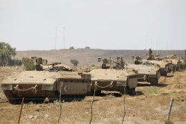 Israeli armoured vehicles take part in a army drill after the visit of Israeli Defence Minister Avigdor Lieberman in the Israeli-occupied Golan Heights, Israel, August  7, 2018. REUTERS/Amir Cohen