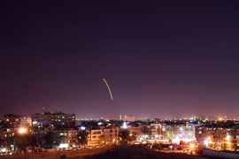 epa07023678 A handout photo made available by the Syria's Arab News Agency (SANA) shows a missile over the Damascus International Airport, in Damascus, Syria, 15 September 2018. According to State News Agency SANA reports, the Syrian Arab Army's air defenses responded to an alleged Israeli missile attack on Damascus International Airport and shot down a number of enemy missiles.  EPA-EFE/SANA HANDOUT  HANDOUT EDITORIAL USE ONLY/NO SALES