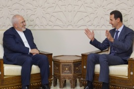 Syrian President Bashar al-Assad meets with Iran's Foreign Minister Mohammad Javad Zarif in Damascus, Syria September 3, 2018. SANA/Handout via REUTERS     ATTENTION EDITORS – THIS IMAGE WAS PROVIDED BY A THIRD PARTY. REUTERS IS UNABLE TO INDEPENDENTLY VERIFY THIS IMAGE.