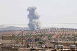 Russia and Assad Regime continue to hit Syria's Idlib- – IDLIB, SYRIA – SEPTEMBER 8: Smoke rises after war planes belonging to Assad Regime and Russia carried out airstrikes at the Khan Shaykhun district of Idlib, Syria on September 8, 2018.