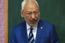 Tunisian local elections- – BEN AROUS, TUNISIA – MAY 06: Leader of Ennahdha Party Rachid al-Ghannouchi casts his vote at a polling station during Tunisian local elections, which was held first time after 2011 Arab Spring revolution, in Ben Arous, Tunisia on May 06, 2018.