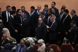 New Iraqi parliament convenes for 1st time since polls- – BAGHDAD, IRAQ – SEPTEMBER 03: Former Prime Minister Nouri al-Maliki (C), leader of State of Law coalition attends the opening session of New Iraqi parliament at the Parliament Building on September 03, 2018 in Baghdad, Iraq. The newly-seated Iraqi Parliament convened on Monday for the first time since the May 12 parliamentary elections.