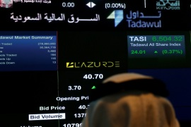 An investor monitors a screen displaying stock information on L'azurde Company for Jewellery after it was listed at the Saudi Stock Exchange (Tadawul) in Riyadh, Saudi Arabia June 29, 2016. REUTERS/Faisal Al Nasser