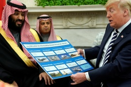U.S. President Donald Trump holds a chart of military hardware sales as he welcomes Saudi Arabia's Crown Prince Mohammed bin Salman in the Oval Office at the White House in Washington, U.S. March 20, 2018.  REUTERS/Jonathan Ernst