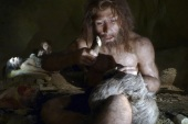 An exhibit shows the life of a neanderthal family in a cave in the new Neanderthal Museum in the northern town of Krapina February 25, 2010. The high-tech, multimedia museum, with exhibitions depicting the evolution from 'Big Bang' to present day, opens on February 27. REUTERS/Nikola Solic (CROATIA – Tags: SOCIETY)