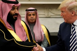 U.S. President Donald Trump shakes hands with Saudi Arabia's Crown Prince Mohammed bin Salman in the Oval Office at the White House in Washington, U.S. March 20, 2018.  REUTERS/Jonathan Ernst