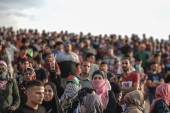 "12th attempt to break the Gaza blockade by sea- – GAZA CITY, GAZA – OCTOBER 15: Palestinians gather to support the ""maritime demonstration"" to break the Gaza blockade by sea with more than 20 vessels in Gaza City, Gaza on October 15, 2018."