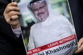 ISTANBUL, TURKEY – OCTOBER 08:  A man holds a poster of Saudi journalist Jamal Khashoggi during a protest organized by members of the Turkish-Arabic Media Association at the entrance to Saudi Arabia's consulate on October 8, 2018 in Istanbul, Turkey. Fears are growing over the fate of missing journalist Jamal Khashoggi after Turkish officials said they believe he was murdered inside the Saudi consulate. Saudi consulate officials have said that missing writer and Saudi critic Jamal Khashoggi went missing after leaving the consulate, however the statement directly contradicts other sources including Turkish officials. Jamal Khashoggi a Saudi writer critical of the Kingdom and a contributor to the Washington Post was living in self-imposed exile in the U.S.  (Photo by Chris McGrath/Getty Images)
