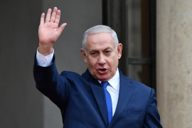 Armistice Day commemoration- – PARIS, FRANCE – NOVEMBER 11: Israeli Prime Minister Benjamin Netanyahu arrives at the Elysee Palace after the international ceremony for the Centenary of the WWI Armistice of 11 November 1918, in Paris, France on November 11, 2018.