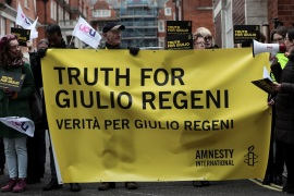 Demonstrators from Amnesty International hold placards outside the Egyptian embassy in support of Giulio Regeni, who was found murdered in Cairo two years ago, in London, Britain, February 2, 2018. REUTERS/Simon Dawson