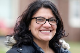 Democratic U.S. congressional candidate Rashida Tlaib canvasses a neighborhood before Election Day in Detroit, Michigan, U.S. November 5, 2018. REUTERS/Rebecca Cook